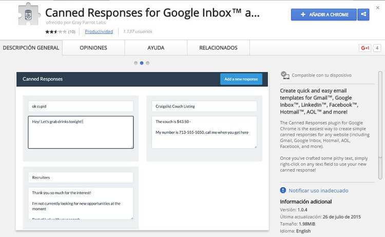 correo de gmail canned response